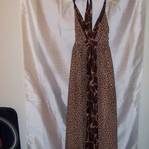 Moda International Animal Print Maxi Halter Dress